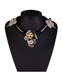 Elegant Black Three Flowers Decorated Short Chain Design Acrylic Bib Necklaces