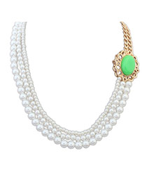 Fashion Green Pearl Decorated Multilayer Design Alloy Korean Necklaces