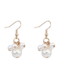 Elegant White Pearl Decorated Simple Design Alloy Korean Earrings