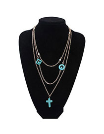 Concise Blue Cross Shape Decorated Multilayer Design Alloy Chains