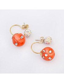 Candy Color Orange Diamond Decorated Round Shape Design Alloy Stud Earrings