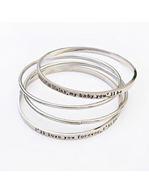 Personalized Silver Color Letter Pattern Decorated Multilayer Design Alloy Fashion Bangles