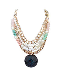 Tinsel Green Pearl Decorated Round Shape Multilayer Design Alloy Bib Necklaces