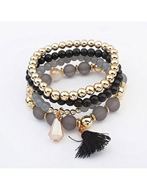 Glamour Gray & Black Beads Decorated Multilayer Tassel Design  Acrylic Korean Fashion Bracelet