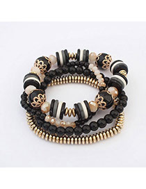 Fresh Black Beads Decorated Multilayer Design  Alloy Korean Fashion Bracelet