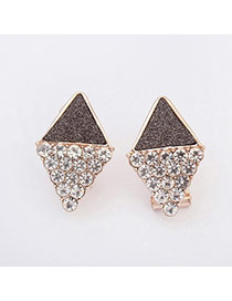 Upscale Black Diamond Decorated Rhombus Shape Design  Alloy Stud Earrings