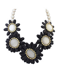 Joker Black Gemstone Decorated Flower Design Turquoise Bib Necklaces