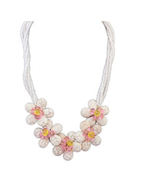 Decorous White Crystal Decorated Flower Design Alloy Bib Necklaces