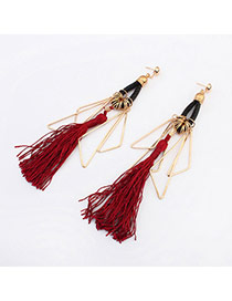 Vogue Claret-red Triangle Shape Decorated Tassel Design  Alloy Korean Earrings