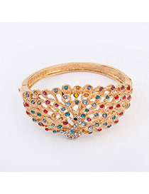 Luxurious Champagne Gold Diamond Decorated Peacock Shape Design  Alloy Fashion Bangles