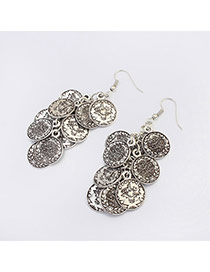 Retro Silver Color Coins Decorated Simple Design Alloy Korean Earrings