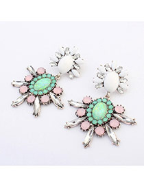 Sweet Antique Silver&pink Gemstone Decorated Simple Design