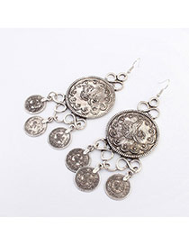 Retro Antique Silver Coins Decorated Round Shape Design
