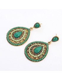 Fashion Antique Gold&green Gemstone Decorated Water Drop Shape Design  Alloy Stud Earrings