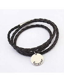 Fashion Black Coin Shape Decorated Multilayer Design  Alloy Korean Fashion Bracelet