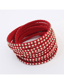 Fashion Dark Red Rivet Decorated Multilayer Deisgn  Alloy Korean Fashion Bracelet