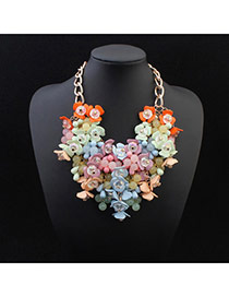 Exquisite Multicolor Beads Weave Decorated Simple Design Alloy Fashion Necklaces