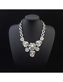 Personality Silver Color Pearl Decorated Irregular Shape Pendant Design Alloy Bib Necklaces