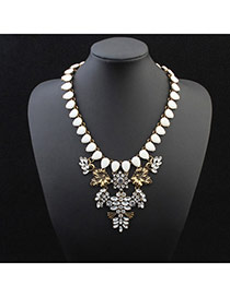 Personality White Water Drop Shape Gemstone Decorated Exaggerated Design Alloy Bib Necklaces