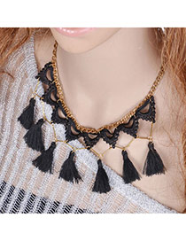 Exquisite Black Triangle Decorated Tassel Design Lace Tassel Necklaces