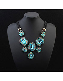 Exquisite Light Blue Gemstone Decorated Flower Shape Design Alloy Bib Necklaces