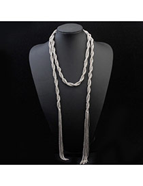 Personalized Antique Silver Tassel Decorated Simple Design  Alloy Fashion Necklaces