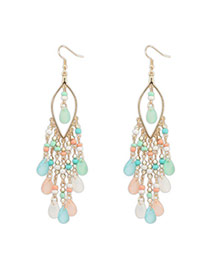 Bohemia Multicolor Beads Decorated Tassel Design  Alloy Korean Earrings