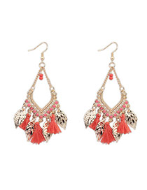 Bohemia Padparadscha Leaf Decorated Tassel Design  Alloy Stud Earrings