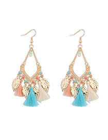 Bohemia Multicolor Leaf Decorated Tassel Design  Alloy Korean Earrings