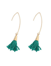Bohemia Green Tassel Decorated Simple Design  Alloy Korean Earrings