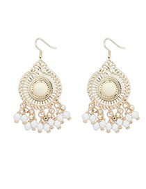 Bohemia Beige Round Shape Decorated Tassel Design  Alloy Korean Earrings
