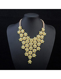 Exquisite Yellow Flowers Decorated V Shape Design Alloy Bib Necklaces