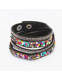 Fashion Multicolor Beads Decorated Multilayer Design  Alloy Korean Fashion Bracelet
