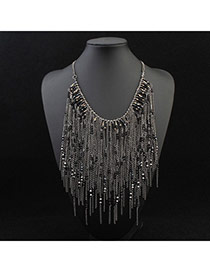 Trendy Black Beads Decorated Tassel Design Alloy Bib Necklaces