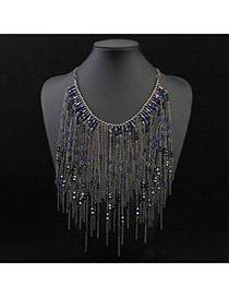 Trendy Blue Beads Decorated Tassel Design Alloy Bib Necklaces