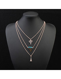 Fashion Green Eiffel Tower Pendant Decorated Multilayer Design Alloy Chains