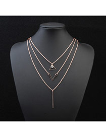 Fashion Gold Color V Shape Pendant Decorated Multilayer Design Alloy Chains