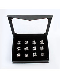 Fashion Silver Color English Letters Decorated Simple Design(12 Pair)  Alloy Korean Rings