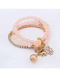 Elegant Pink Elephant&flower Pendant Decorated Beads Multilayer Design Alloy Korean Fashion Bracelet