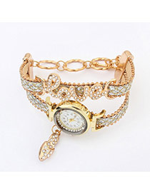 Exquisite White Letter Love Decorated Double Layer Design  Rhinestone Ladies Watches