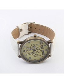 Exquisite White Yeah Gesture Pattern Decorated Simple Design  Pu Ladies Watches