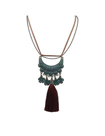 Retro Dark Green Moon Shape Decorated Flower&tassel Pendant Design Alloy Bib Necklaces