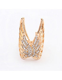Exaggerate Gold Color Diamond Decorated Butterfly Shape Design  Alloy Korean Rings