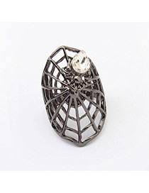 Exaggerate Black Diamond Decorated Spider Web Shape Design  Alloy Korean Rings