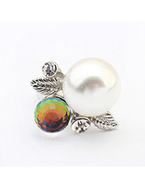 Fashion Silver Color Pearl Decorated Leaf Shape Design  Alloy Korean Rings