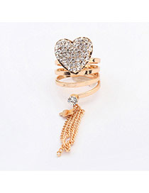 Fashion Gold Color Tassel Deocorated Heart Shape Design  Alloy Korean Rings