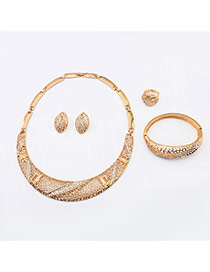 Fashion Gold Color Diamound Decorated Hollow Out Design