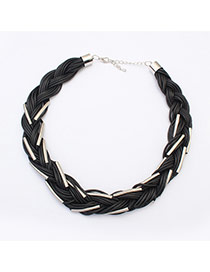 Exaggerated Silver Color Metal Decorated Weave Design Alloy Bib Necklaces