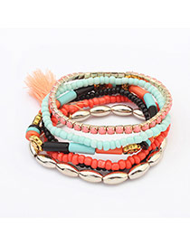 Fashion Plum Red Beads&tassel Decorated Multilayer Design Alloy Korean Fashion Bracelet