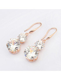 Sweet Gold Color Diamond Decorated Gourd Shape Design  Alloy Stud Earrings